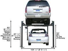 XH-PRO8000-62 Four Post Lift, Garage Lift, Metal Working Tools, Architecture, Car, Ideas, Arquitetura, Automobile, Architecture Design