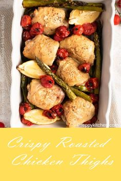 Crispy Baked Chicken Thighs that are juicy and tender with the most delicious crispy skin. This easy sheet pan dinner is made with roasted asparagus, cherry tomatoes, and an easy lemon and garlic vinaigrette that's all made in one pan! Easy Meat Recipes, Entree Recipes, Turkey Recipes, Grilling Recipes, Easy Dinner Recipes, Easy Meals, Cooking Recipes, Healthy Recipes, Drink Recipes