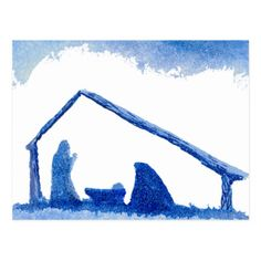 Shop Blue Silhouette Nativity Scene Postcard created by Lenora. Watercolor Christmas Cards, Christmas Drawing, Diy Christmas Cards, Christmas Paintings, Blue Christmas, Watercolor Cards, Christmas Printables, Xmas, Christmas Tables