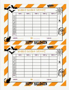 Halloween Bunco Sheet