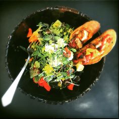 Salad of Herbs and Blossoms with oven roasted veggie Bruschetta. Oven Roast, Seaweed Salad, Bruschetta, Blossoms, Veggies, Herbs, Ethnic Recipes, Food, Octopus