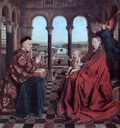 Η Παρθένος του Καγκελαρίου Ρολέν, 1435. Ο πίνακας φιλοτεχνήθηκε από τον Γιαν βαν Άικ έπειτα από ανάθεση του Νικολά Ρολέν και σήμερα φιλοξενείται στο μουσείο του Λούβρου στο Παρίσι.