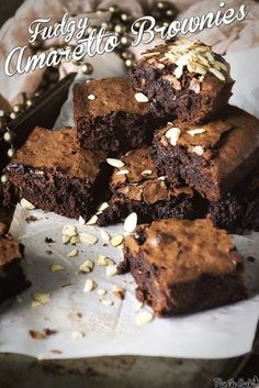 Fudgy Amaretto Brownies   PasstheSushi.com