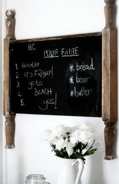 A Beach Cottage, The Vintage Headboard & Decorating With Chalkboard Paint