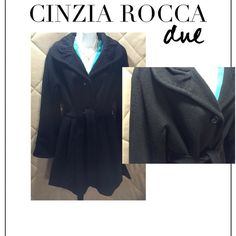 """⚫️ Cinzia Rocca Fleece Wool Angora Blend Coat You know when you put something on and it just feels good? Well that's exactly how it felt when I tried on this soft, gorgeous Cinzia Rocca coat with three large button closure (top button is a little loose) and tie waist...fully lined and the detailing is fabulous! 60% Fleece Wool; 20% Angora; 20% Nylon...Size 10 (US) 46 (IT)...approximate measurements: length (shoulder to hem) - 35""""; waist - 21"""" flat Cinzia Rocca Jackets & Coats Pea Coats"""