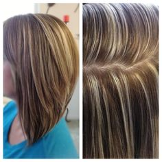 High contrast hair color, highlights and lowlights, platinum highlights, chestnut lowlights, triangular one-length, triangular layers, Paul Mitchell haircut, long a-line haircut, blonde highlight, cute hairstyles by Aj Lashes