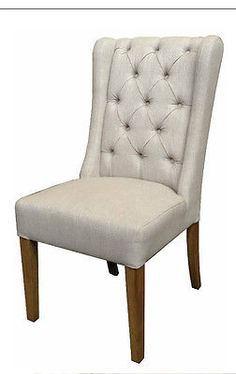 Linen Dining Chair  ,oak leg ,French Provincial Dining Chair