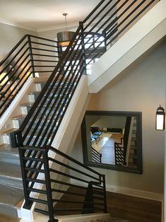 Modern Staircase Railing, Interior Stair Railing, Modern Stair Railing, Balcony Railing Design, House Staircase, Iron Stair Railing, Modern Stairs, Staircase Design, Staircase Ideas