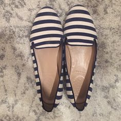 J.Crew flats Last summer's collection J.Crew loafers, blue and white stripes, size 8, genuine leather J. Crew Shoes Flats & Loafers