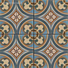 Bruselas painted tile for the kitchen backsplash Bath Tiles, Mosaic Tiles, Tiling, Kitchen Tiles, Kitchen Reno, Cement Tiles, Living Room With Fireplace, Glazed Ceramic, Handmade Shop
