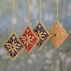 Beaded ornaments, 'Diamond Stars' (set of - Beaded Hanging Ornaments Crafted by Hand in India (set of Handmade Christmas Decorations, Felt Christmas Ornaments, Beaded Ornaments, Ornament Crafts, Hanging Ornaments, Christmas Crafts, Christmas Tree, Saree Tassels Designs, Grinch Stole Christmas