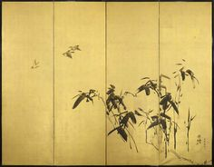 A pair of four-fold paper screens painted in ink on a gold ground with take (bamboo) and suzume (sparrows). This right-hand screen depicts three suzume (sparrows) flying over kumazasa (dwarf bamboo).  Signed: Beisen  Inscription: Yuzan suzume wo utsutsu. Sparrows painted by Yuzan.  (19th/20th century Meiji period)