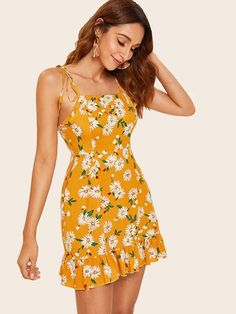 79394656e0 Floral Print Contrast Lace Backless Dress | SHEIN | clothing ...