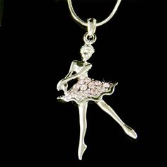 Purple Swarovski Crystal BALLERINA Ballet Dance Girl Dancer dancing Charm Pendant Necklace Christmas Gift