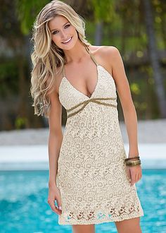 52320b05f1 BEIGE Crochet dress from VENUS available in sizes S-XL Dressy Dresses, Cute  Summer