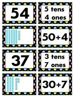 Place Value to 100 Matching Math Station with 72 different cards so you can play it multiple times without repeating numbers & make it as hard or easy as you want to! :)