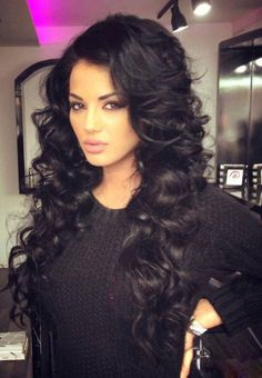 beautiful long dark hair | long hair with beautiful curls