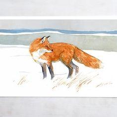 Watercolor Animals, Watercolor Cards, Watercolor Paintings, Fox Painting, Winter Painting, Fox In Snow, Nature Prints, Art Prints, Fox Art