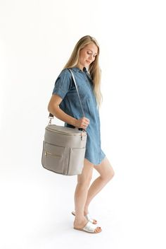 d8bb8e7e3a830 Gray Fawn Design Diaper Bag, Keychain Hook, Backpack Straps, Leather  Interior, How