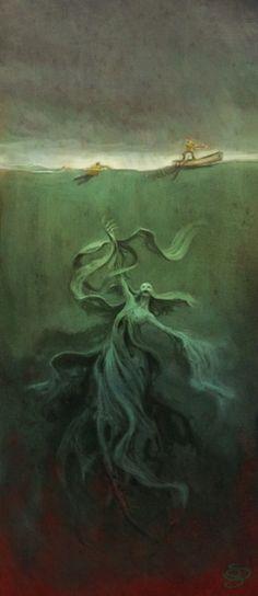 What lurks underneath the surface?(Marine Monster by Sebastian Giacobino) I may never swim again