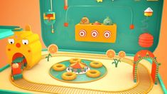 Channel idents for kids channel Lunchbox Booth Design, 3d Design, Game Design, Beste Gif, Food Graphic Design, Candy House, 3d Video, Toy House, Game Concept Art