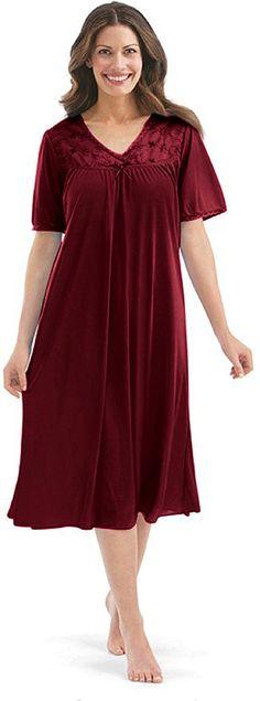 c5d0061bf04 EZI Women s Satin Silk Short Sleeve Lingerie Nightgown -- Tried it!   Plus  size tops