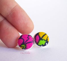 tiny earrings studs floral multicolr small fabric by chezviolette