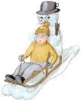 Illustrations on the subject winter, snowman and sledge journey.   Illustrationen zum Thema Winter, Scheemänner und Schlittenfahren.