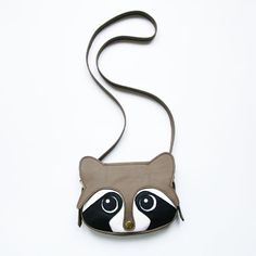 La Lisette - Genuine leather #Raccoon bag with cute eyes and a snap button nose.  Brass metal details.    Size: 19 W x 15 H cm  Shoulder strap length: 120 cm    Colour: Grey/White    [€74 EUR]