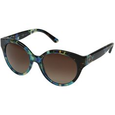 Tory Burch 0TY7087 (Blue Brown Tortoise/Brown Gradient Polarized)... ($215) ❤ liked on Polyvore featuring accessories, eyewear, sunglasses, blue polarized sunglasses, tory burch sunglasses, heart shaped sunglasses, blue lens glasses and brown lens sunglasses