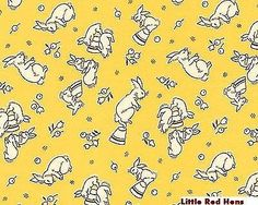 "By Yd 1930's ""Aunt Grace Rabbits on Butter Yellow 100% Cotton Quiilt Shop Fabric"