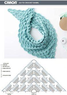 Crochet Shawl Diagram, Crochet Vest Pattern, Form Crochet, Granny Square Crochet Pattern, Crochet Motif, Diy Crochet, Crochet Designs, Crochet Crafts, Crochet Patterns