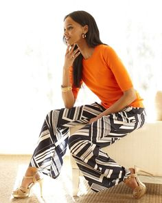 trends: printed pants - liz claiborne elbow sweater and printed palazzo pants