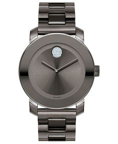 Movado Watch, Swiss Bold Medium Gray Ion Plated Stainless Steel Bracelet 36mm 3600103 - Men's Watches - Jewelry & Watches - Macy's- FOR D