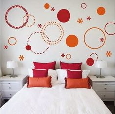27 Ideas For Orange Painted Furniture White Walls 27 Ideas For Orange Painted Furniture White Walls Furniture Orange Painted Furniture, Bedroom Wall Designs, White Wall Decor, Wall Patterns, Bedroom Colors, Vinyl Wall Decals, White Walls, Room Decor, Home