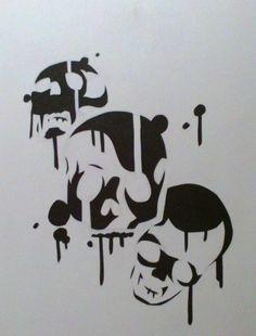 Drippy skulls stencil by daylatefriend123