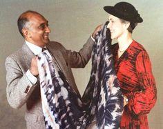 Douglas Ram Samuj with Shirley Smith, displaying fabrics he designed. The Scarf…