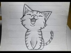 How to draw a basic cat sitting - YouTube