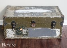 Military Footlocker Transformation Into Toy Storage Trunk. Mod Podge  Vintage Maps To Metal And Spray