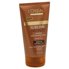 L'Oreal Sublime Bronze Tinted Self-Tanning Lotion with Vitamin E, Medium Natural Tan, 5-Ounce Tube (PACK OF 3) by L'Oreal Paris. $26.50. LOreal Sublime Bronze Streak Free Self Tanning Body Lotion, Medium Natural Tan provides an instant bronze glow while a strak free sunless tan develops. Vitamin E and gentle AHAs leave the skin smooth and soft.