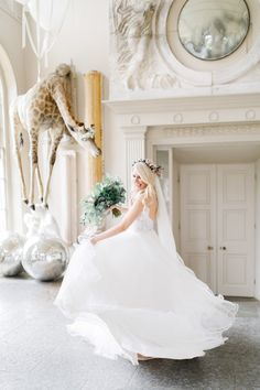 Floating Giraffe at Aynhoe Park - Bride swooshing dress in orangery after first look with her groom before the ceremony Whimsical Wedding, Elegant Wedding, Our Wedding, Wedding Venues, Aynhoe Park, Park Weddings, Real Weddings, Lace Bride, Fine Art Wedding Photography