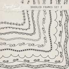 doodled frames 2 85 x 11 digital clipart for card making scrapbooking
