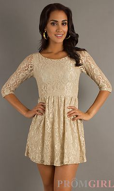 Short Lace Dress at PromGirl.com