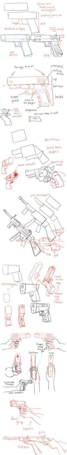 How to draw guns and it's perspective~WHERE HAS THIS BEEN MY WHOLE LIFE???