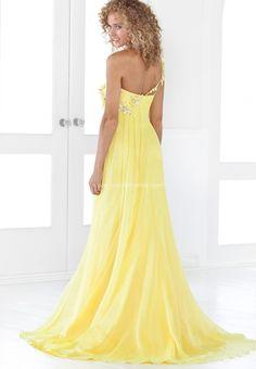 Lemon Draped Beaded Empire One-shoulder Chiffon over Satin Prom Dress Wedding Dresses Online Sale