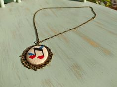 Music heart note with birds cross stitch pendant on bronze frame, charm necklace, cross stich jewelry, vintage style, gift for her Cross Stitch Music, Music Heart, Necklace Lengths, Gifts For Her, Vintage Fashion, Bronze, Pendants, Birds, Pendant Necklace