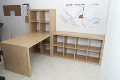 IKEA Craft Room Sewing | Craft Room Makeover.... Could probably build it myself and keep all my art supplies in it.