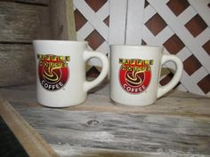 Vintage Waffle House Heavy Ceramic Coffee Mugs Cups Tuxton 2 Different Mugs 50th Anniversary by EvenTheKitchenSinkOH on Etsy