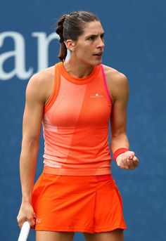 Andrea Petkovic during her match against Jennifer Brady on Day Two of the 2017 US Open on August 2017 Petkovic, Tennis Center, Tennis Players Female, Billie Jean King, Tennis Championships, Tennis Fashion, Tennis Stars, First Round, Sports