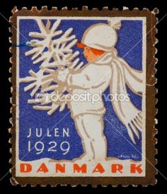 Vintage Christmas postage stamp — Denmark 1929